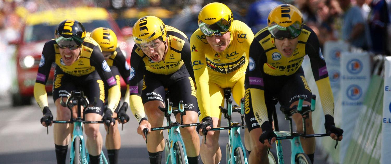 Tony Martin und das Team Jumbo-Visma beim Teamzeitfahren der Tour de France 2019.